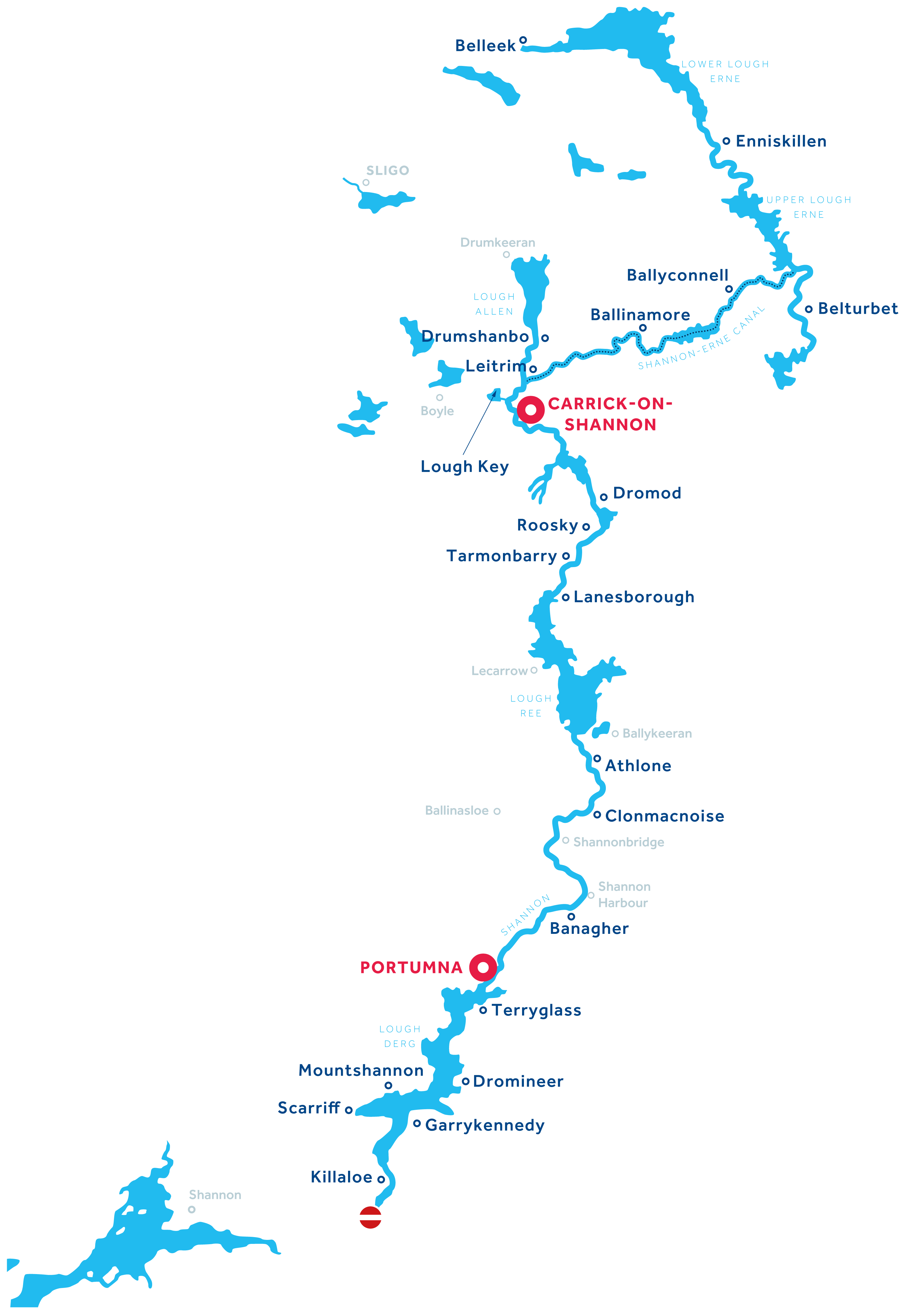 Shannon and Erne Region map