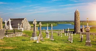 Ancient monastery ruins in Clonmacnoise