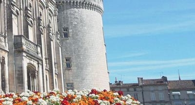 Chateau and flowers in the Charente