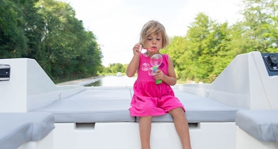Blowing bubbles on the deck
