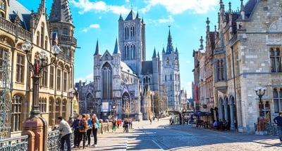 Winding medieval streets of Ghent city