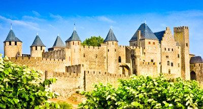 Medieval Carcassonne near the Canal du Midi