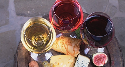 Wine and platter of food