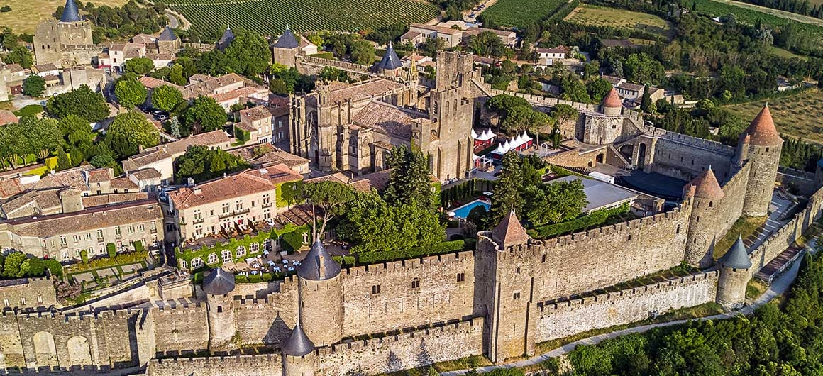 Aerial view of Carcassonne, Canal du Midi