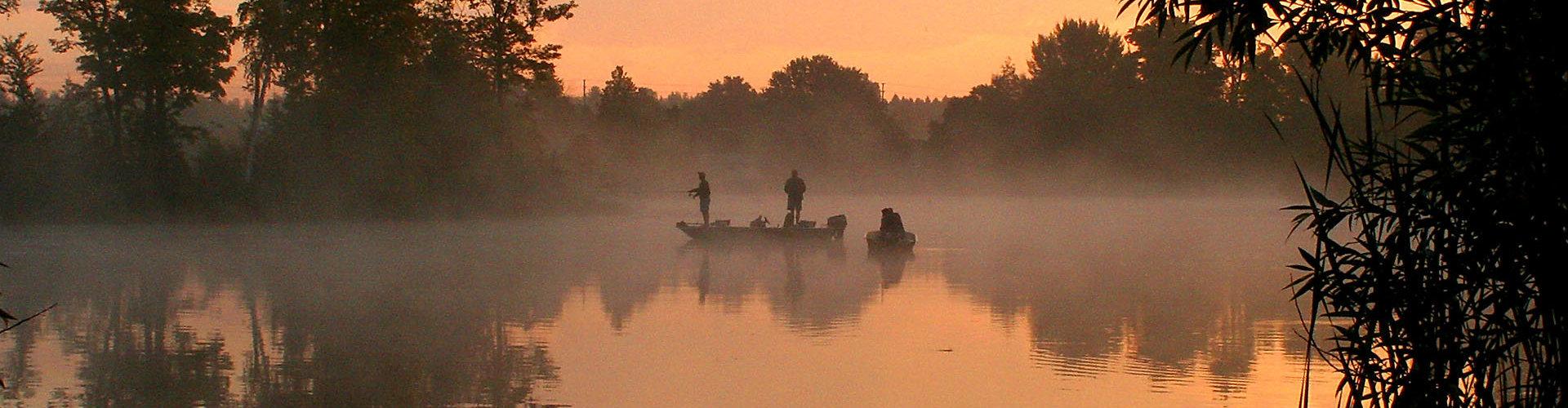 Fishing by lake
