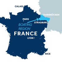 Map showing where the Alsace boating region is in France