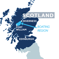 Map showing where the Caledonian Canal boating region is in Scotland