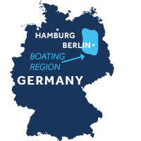 Map showing where the Mecklenburg & Bradenburg boating region is in Germany