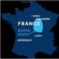 Carte indiquant les régions de navigation dans la Vallée de la Loire & Nivernais en France