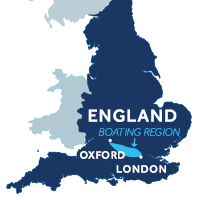 Map showing where the Thames boating region is in England